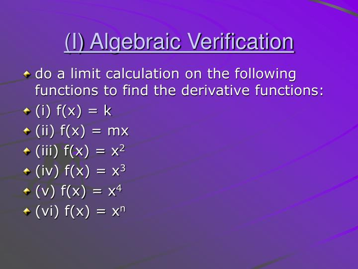 (I) Algebraic Verification