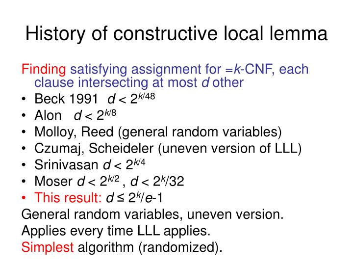 History of constructive local lemma