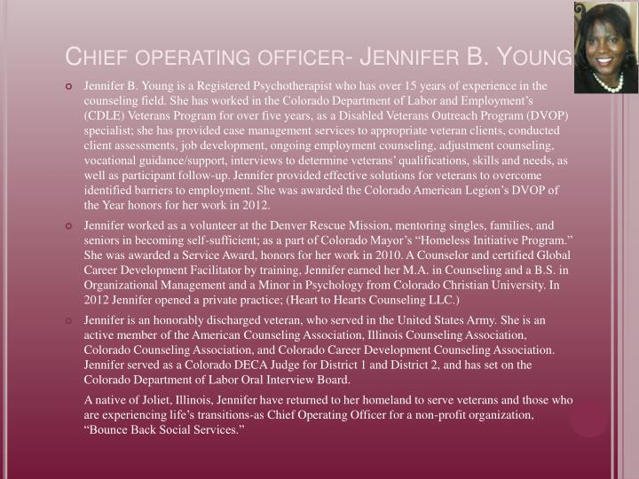 Chief operating officer jennifer b young