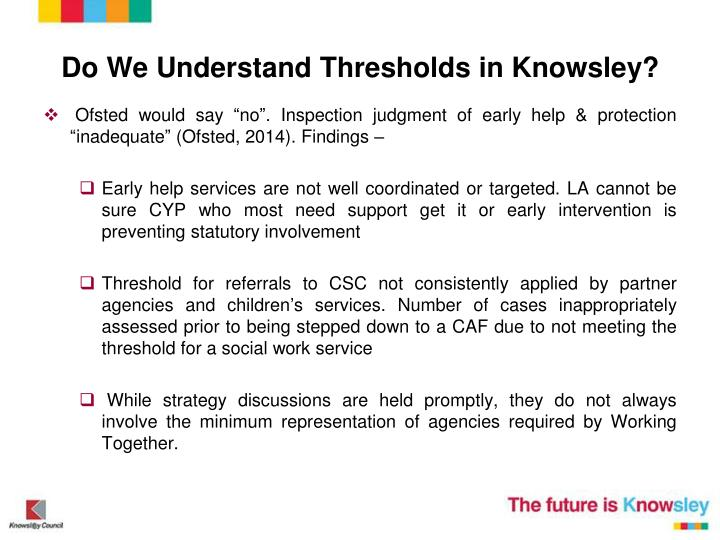 Do We Understand Thresholds in Knowsley?