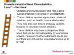 knowsley model of need characteristics level 1 universal