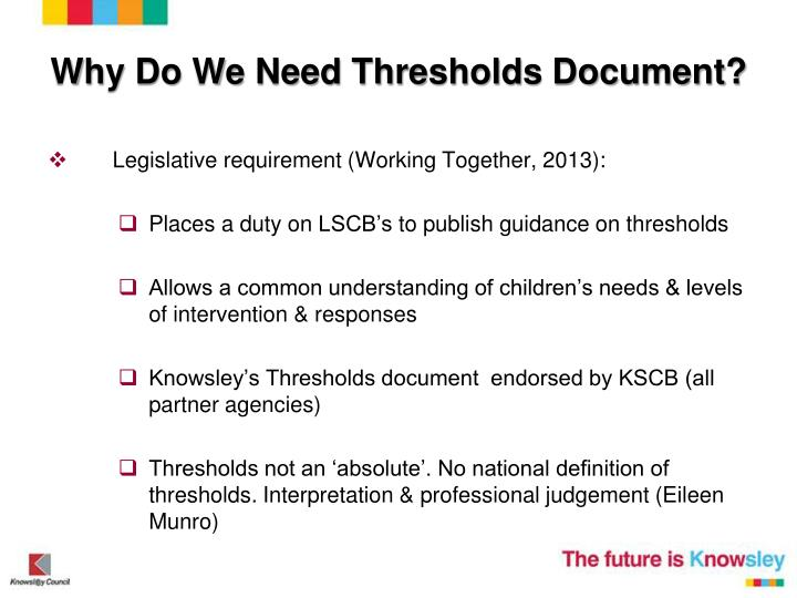 Why Do We Need Thresholds Document?