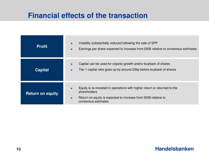 Financial effects of the transaction