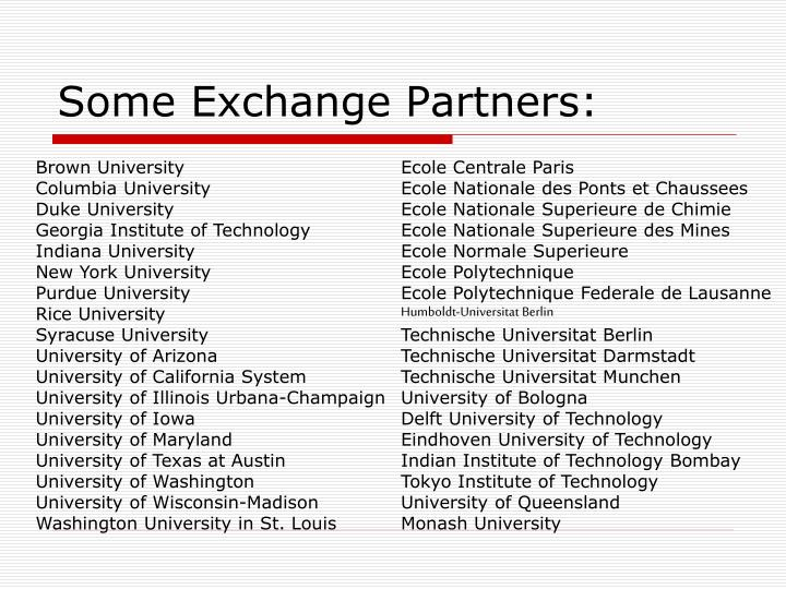 Some Exchange Partners