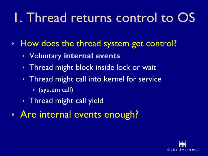 1. Thread returns control to OS