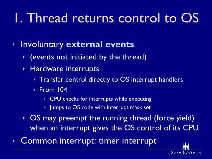 1. Thread returns control to OS