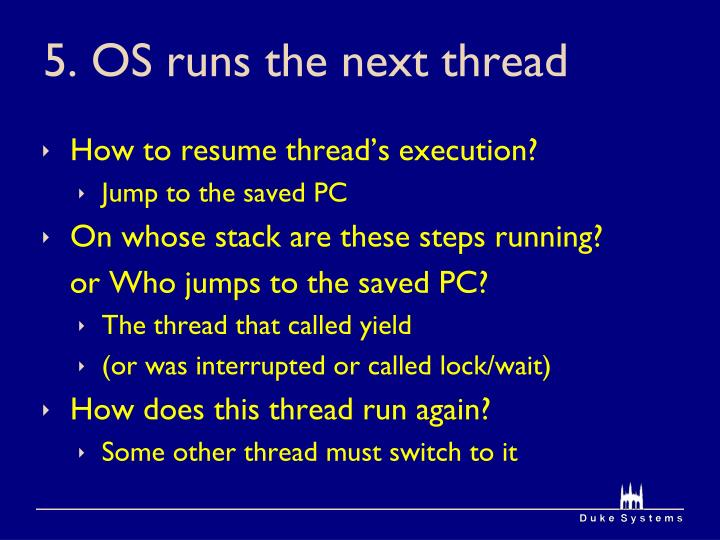 5. OS runs the next thread