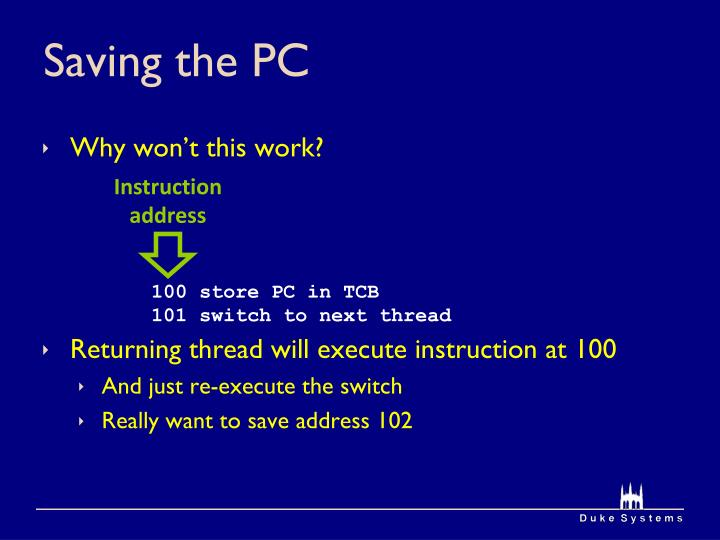 Saving the PC