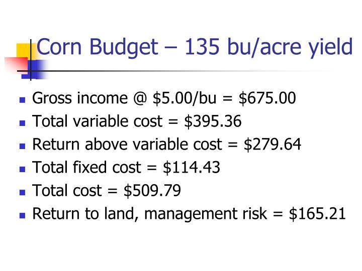 Corn Budget – 135 bu/acre yield