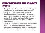 expectations for the students cont