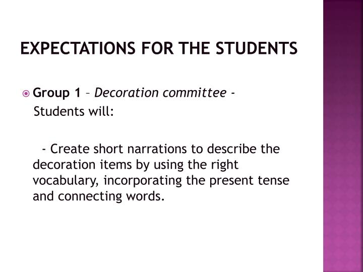 Expectations for the students