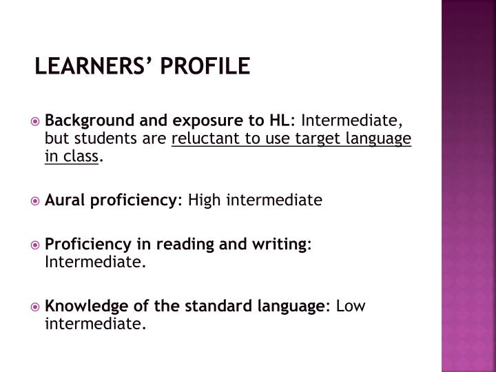 Learners' profile