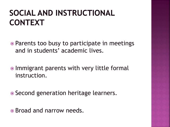 social and instructional context