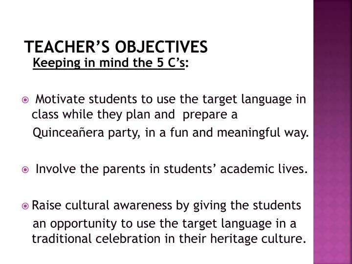 Teacher's Objectives