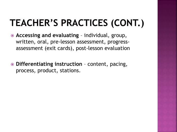 Teacher's practices (cont.)