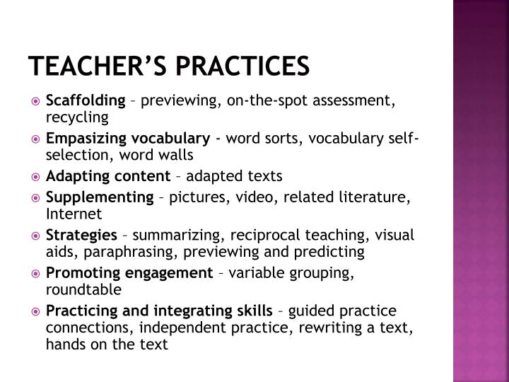 Teacher's practices