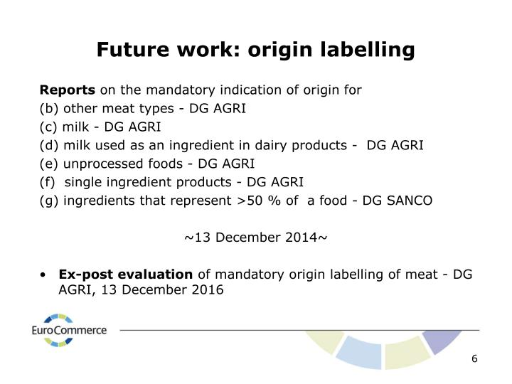 Future work: origin labelling
