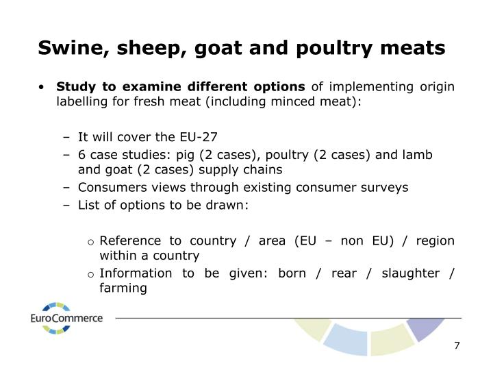 Swine, sheep, goat and poultry meats