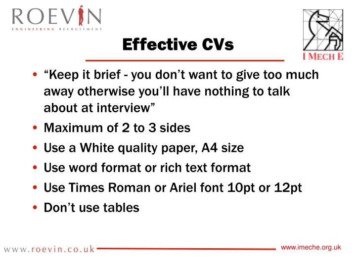 Effective CVs