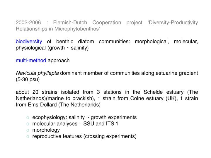 2002-2006 : Flemish-Dutch Cooperation project 'Diversity-Productivity Relationships in Microphytobenthos'