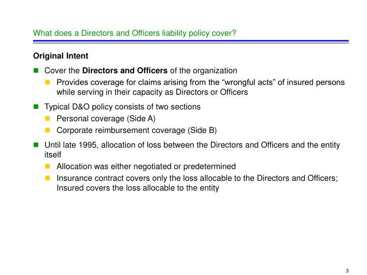 What does a Directors and Officers liability policy cover?