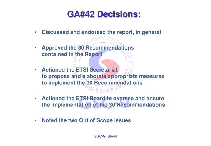 GA#42 Decisions: