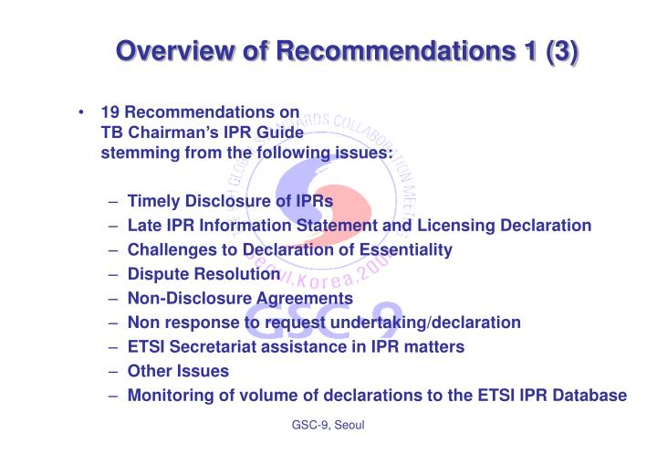 Overview of Recommendations 1 (3)