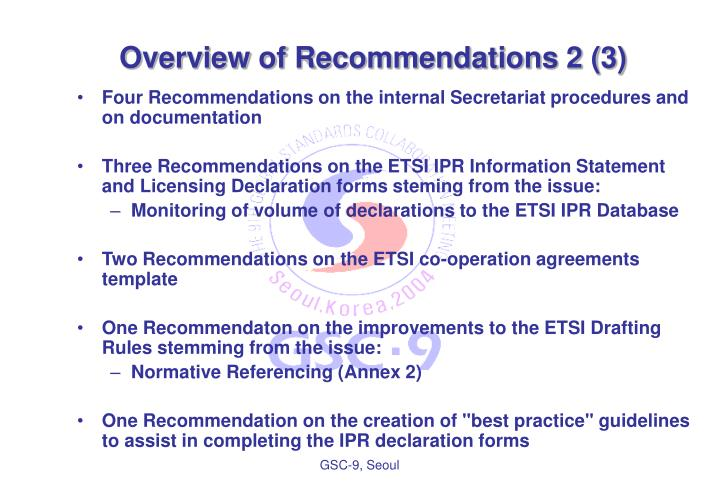 Overview of Recommendations 2 (3)
