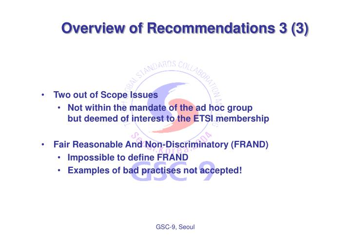 Overview of Recommendations 3 (3)