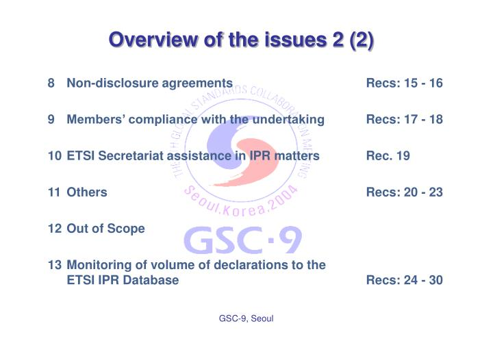 Overview of the issues 2 (2)