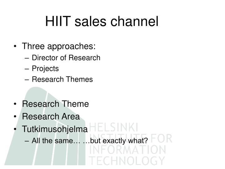 HIIT sales channel