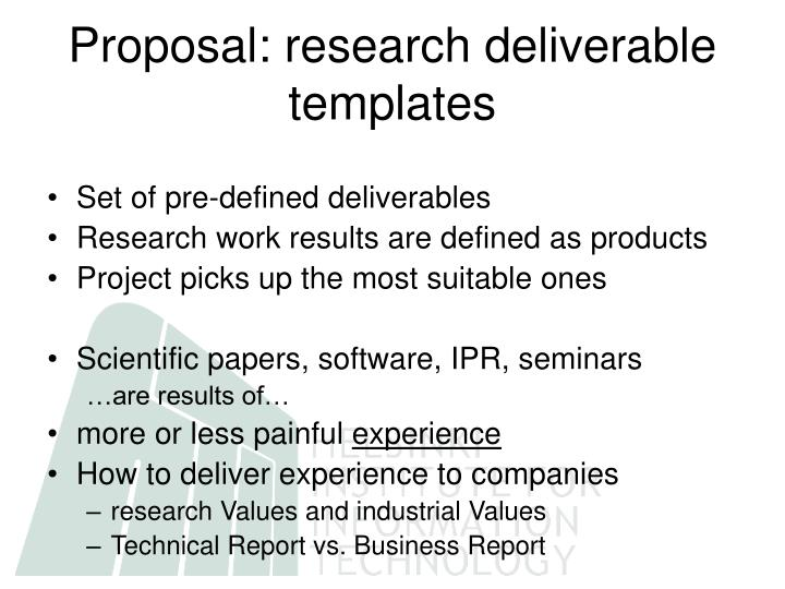 Proposal: research deliverable templates