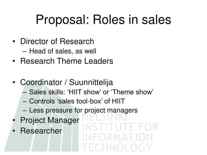Proposal: Roles in sales
