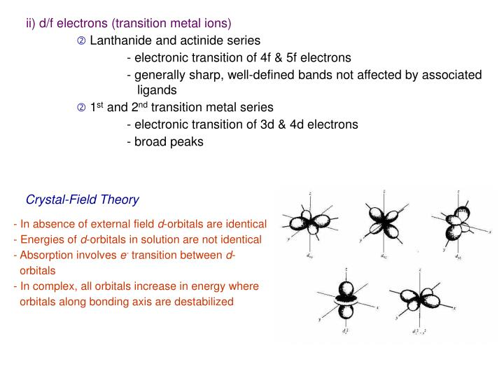 ii) d/f electrons (transition metal ions)