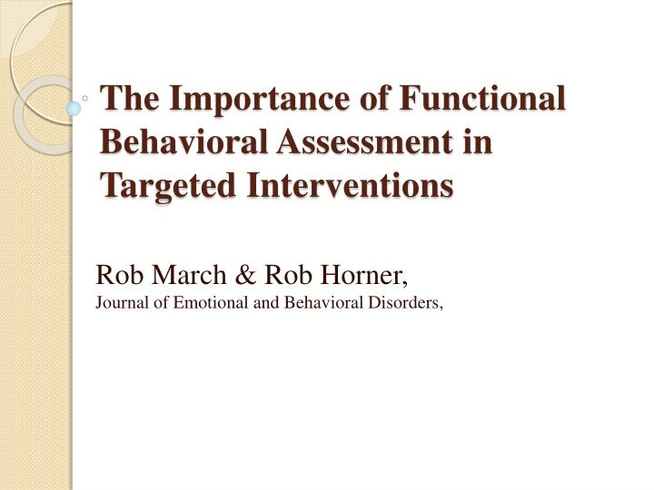 The Importance of Functional