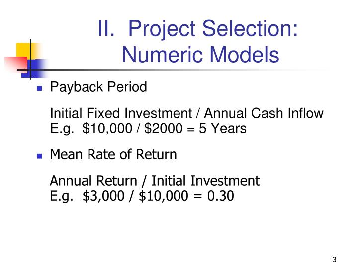 Ii project selection numeric models