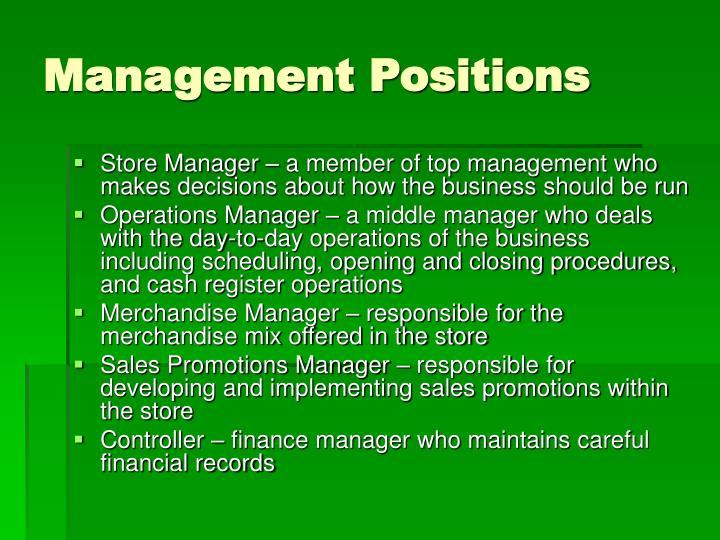 Management Positions