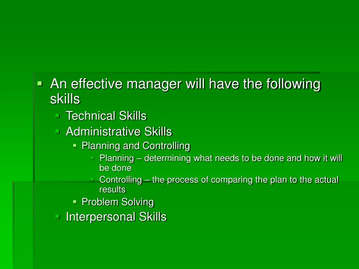 An effective manager will have the following skills
