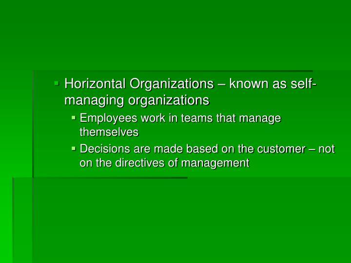 Horizontal Organizations – known as self-managing organizations