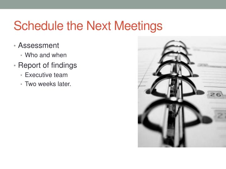 Schedule the Next Meetings