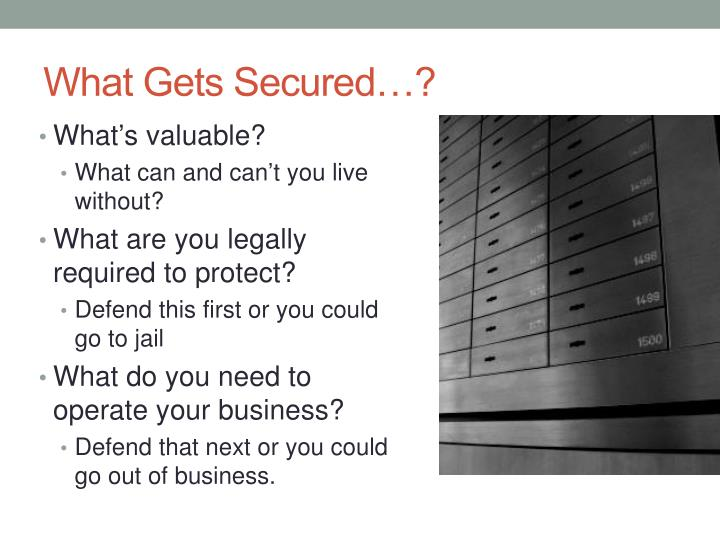 What Gets Secured…?