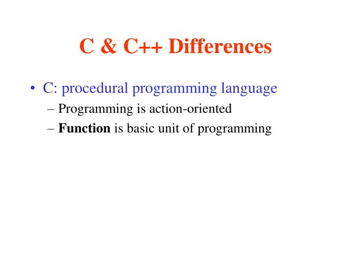 C & C++ Differences