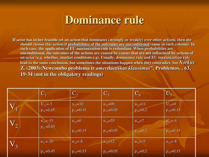 Dominance rule