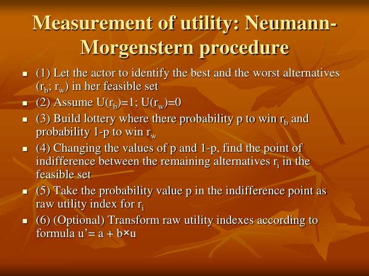 Measurement of utility: Neuman