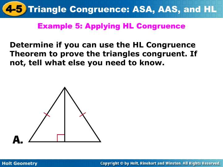 Example 5: Applying HL Congruence