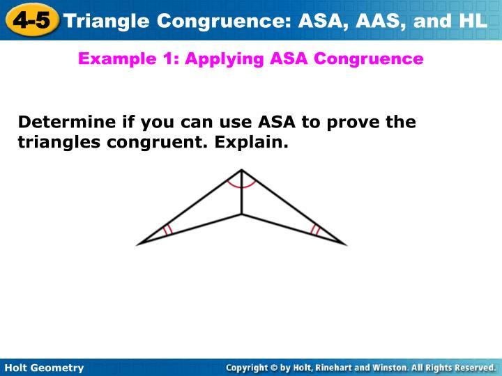 Example 1: Applying ASA Congruence