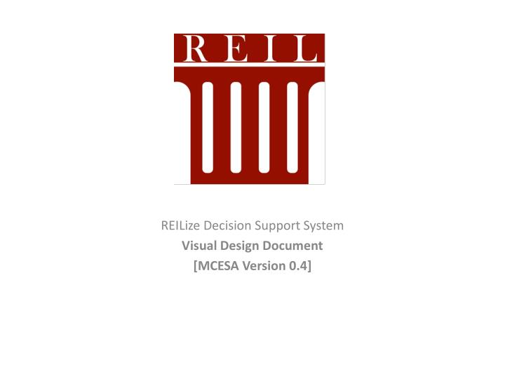 Reilize decision support system visual design document mcesa version 0 4