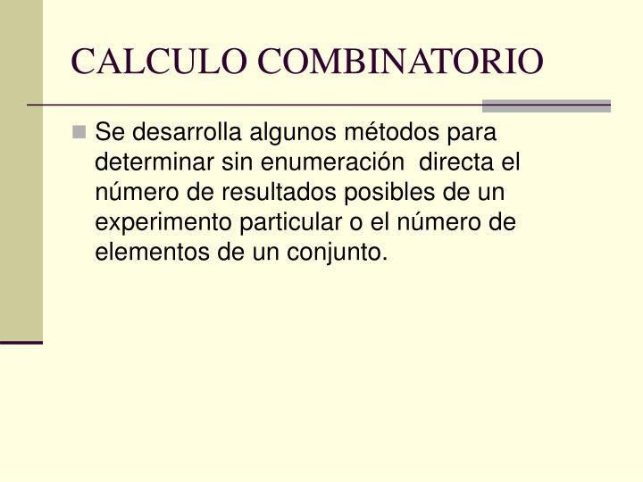 CALCULO COMBINATORIO