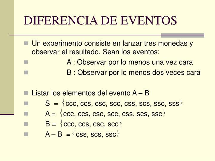 DIFERENCIA DE EVENTOS