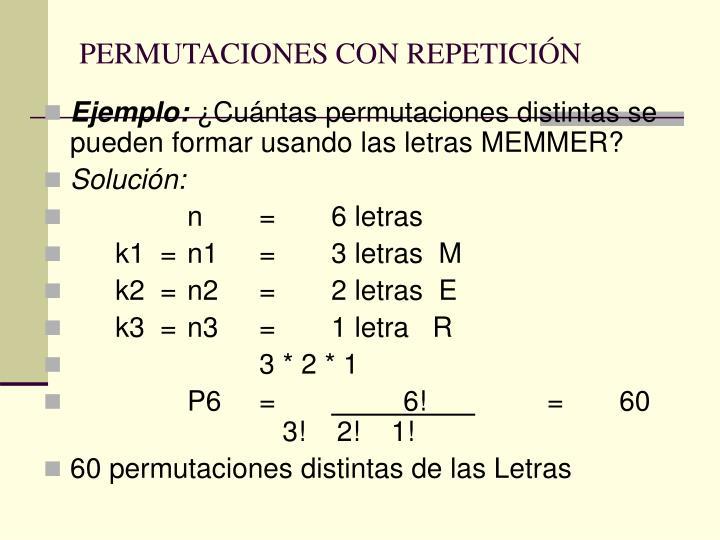 PERMUTACIONES CON REPETICIÓN